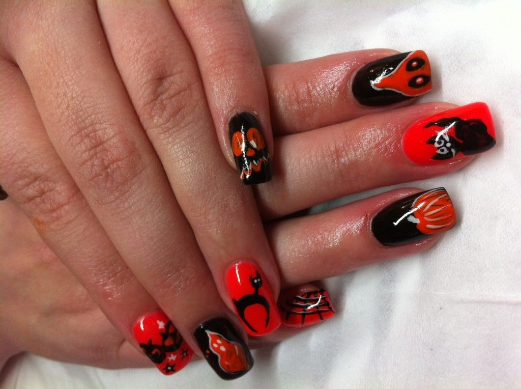 Orange And Black Halloween Nails Pictures, Photos, and ...