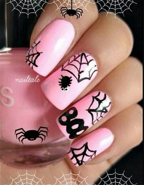 Pink Spider Web Nail Art Pictures Photos And Images For Facebook