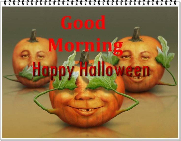 High Quality Good Morning Happy Halloween Quote With Pumpkins
