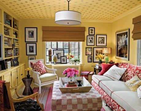 Yellow Living Room Walls With Dotted Ceiling
