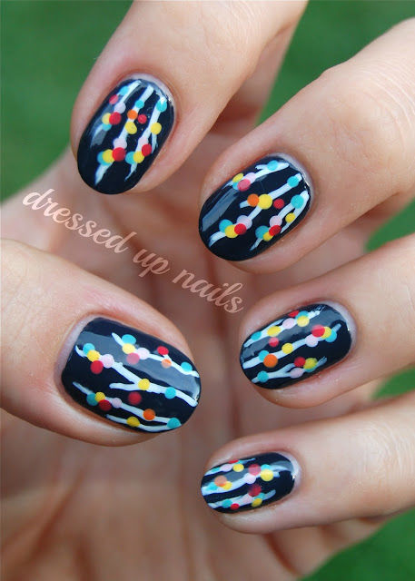 colorful christmas light nails
