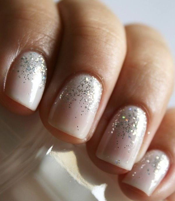 White And Silver Glitter Nails Pictures, Photos, and ...