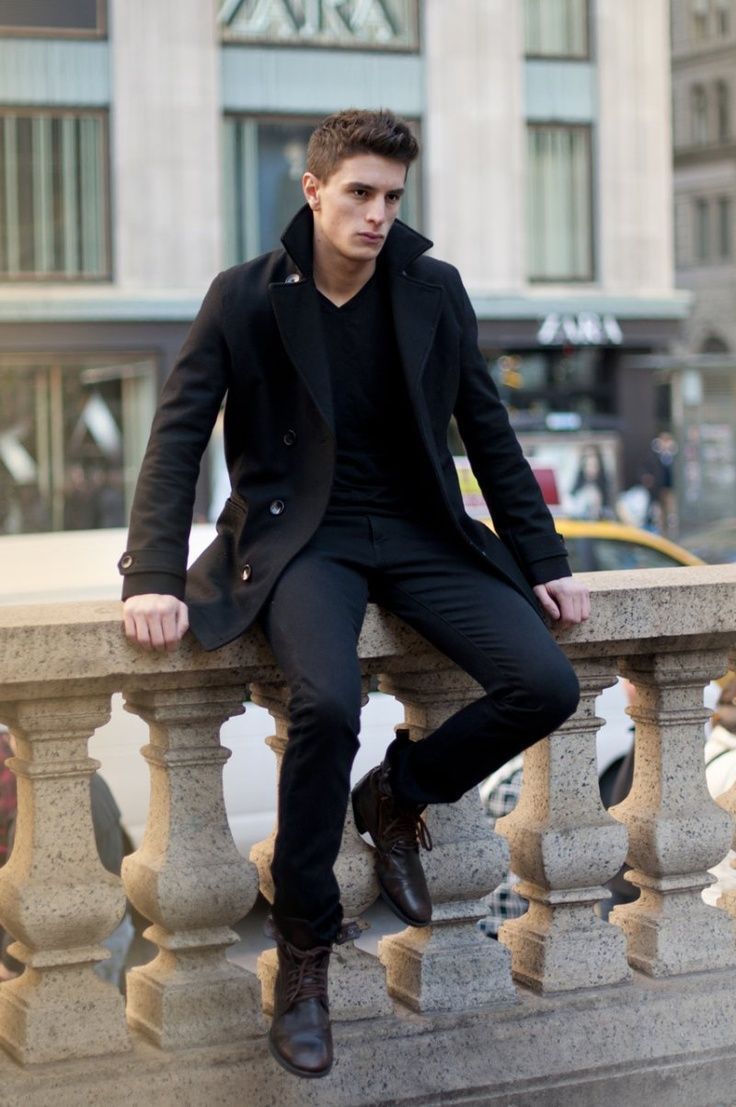 Black Peacoat With Black Pants And Boots Pictures, Photos, and ...