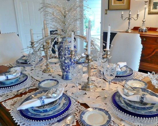 Beautiful Blue Amp White Thanksgiving Tablescape Pictures