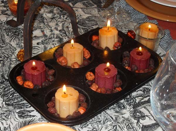 Muffin tin thanksgiving candles pictures photos and Cheap thanksgiving table setting ideas