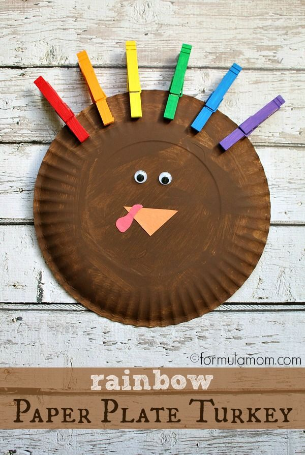 Rainbow Paper Plate Turkey Craft : paper plate turkey crafts - pezcame.com