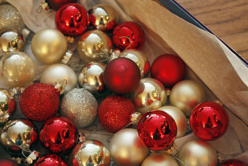 Gold Silver And Red Glitter Ornaments Baubles