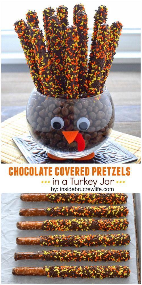 Chocolate Covered Pretzels Turkey Jar For Thanksgiving ...