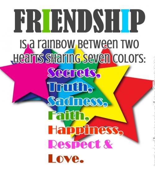 Quotes About Love And Friendship And Happiness: Friendship Is A Rainbow Between Two Hearts Pictures