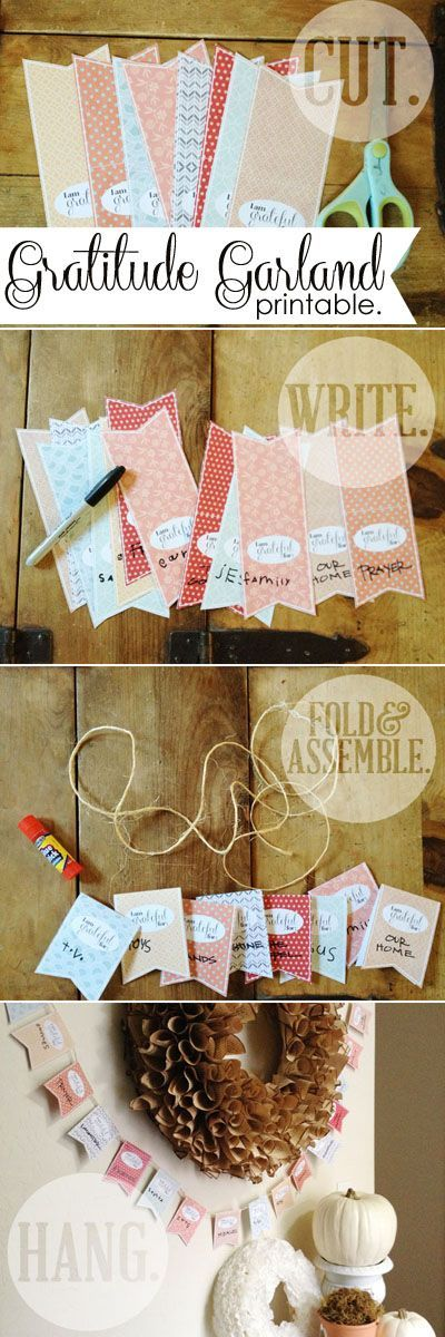 Gratitude Garland Printable For Thanksgiving Pictures
