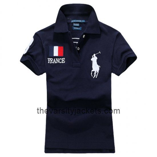 Cheap Mens Ralph Lauren France Black Polo T-shirts Online Store
