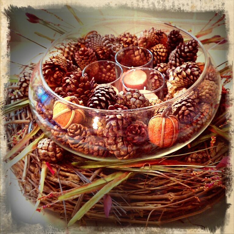 Simple but beautiful pinecone centerpiece pictures photos