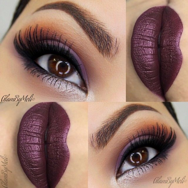 Purple Smokey Eyes With Deep Plum Lips Pictures Photos