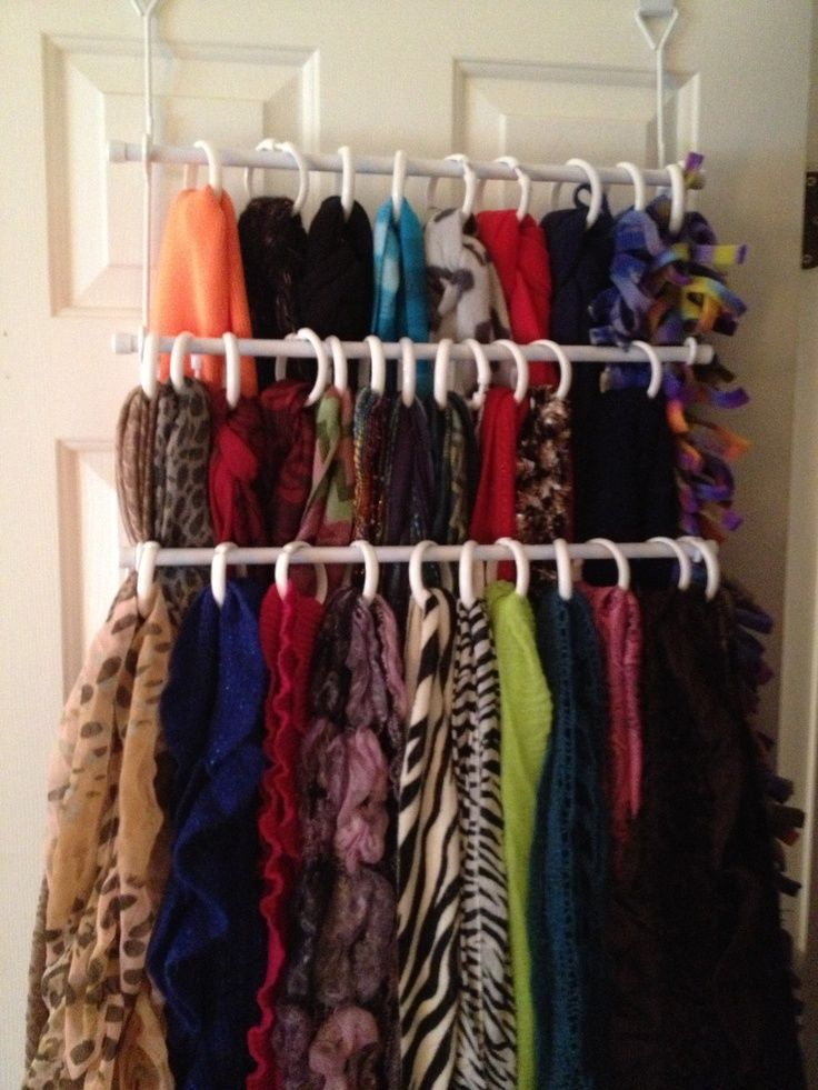 Scarf Organization Using Towel Bar And Shower Curtain Rings Pictures ...