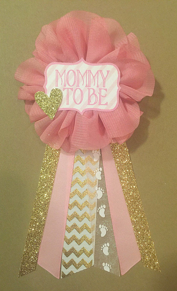 Pink and gold baby shower mommy to be pin corsage pictures for Baby shower decoration ideas pinterest