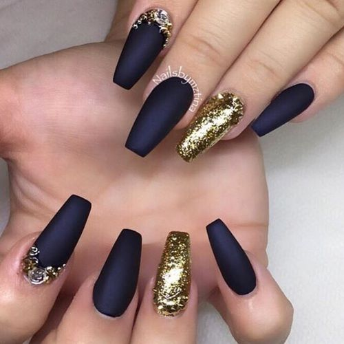 Black Matte And Gold Glitter Nails