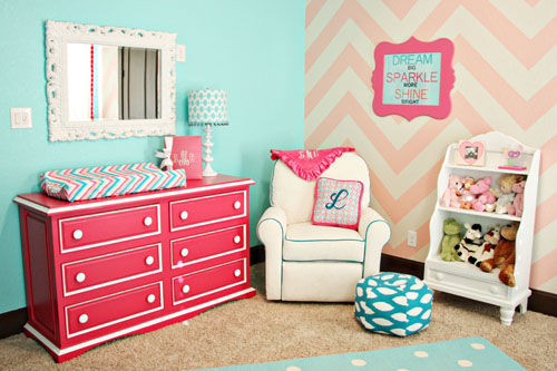 Pink And Teal Chevron Nursery