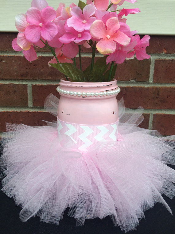 Pink Tutu Mason Jar Craft For Baby Shower