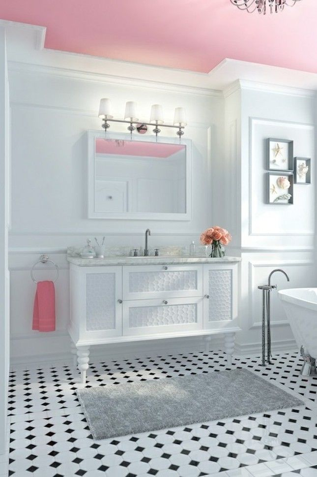 Pink And White Beautiful Bathroom Pictures Photos And