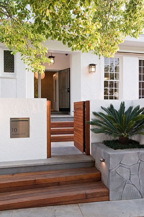 White And Wood Front Entry With A Low Gate Pictures, Photos, And Images For Facebook, Tumblr