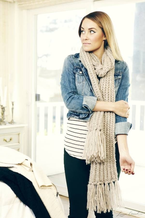 long crochet scarf with denim jacket and jeans pictures