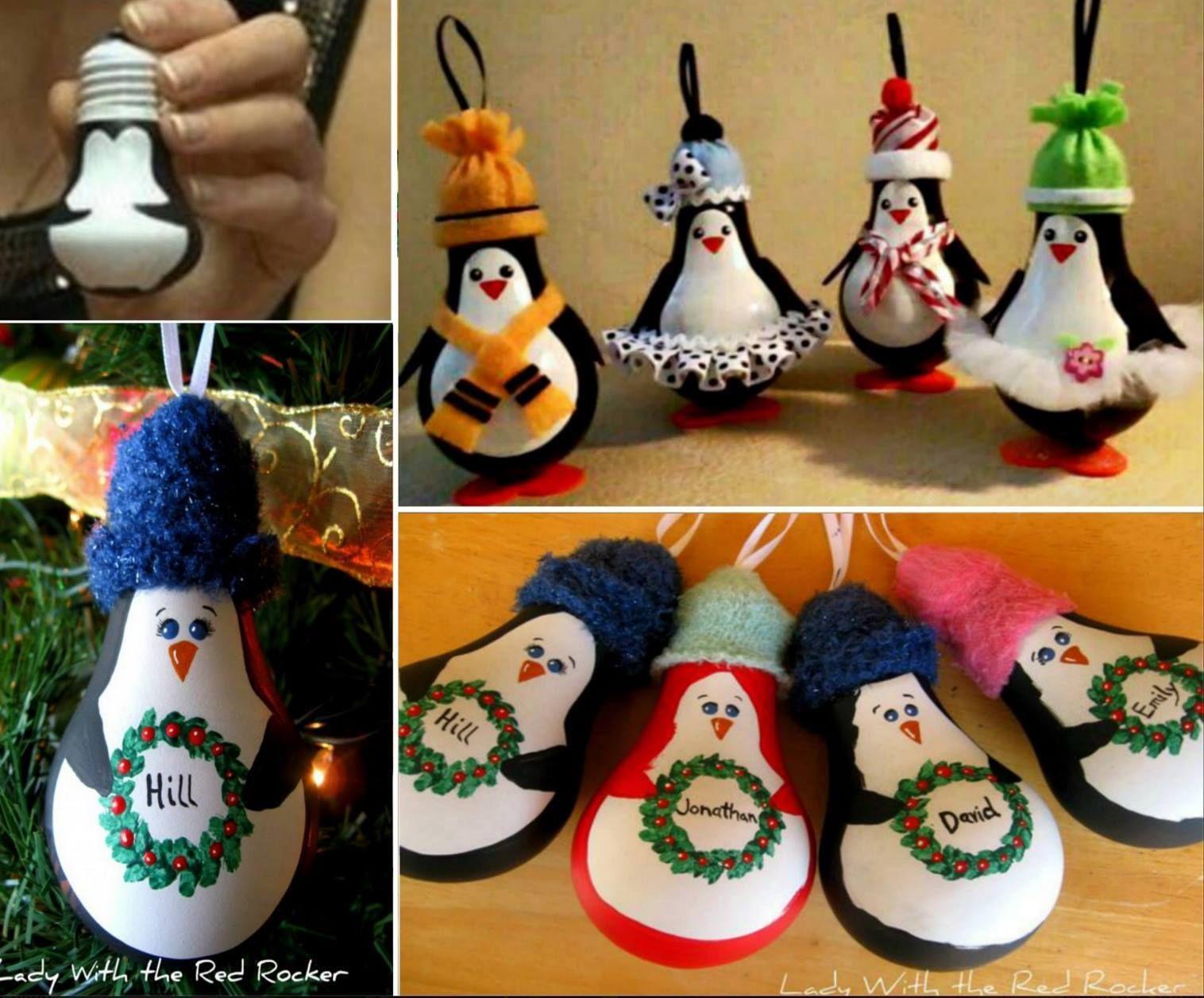 Light bulb ornaments - Diy Penguin Light Bulb Ornaments