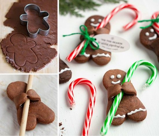 Chocolate Gingerbread Men With Candy Canes Pictures Photos And