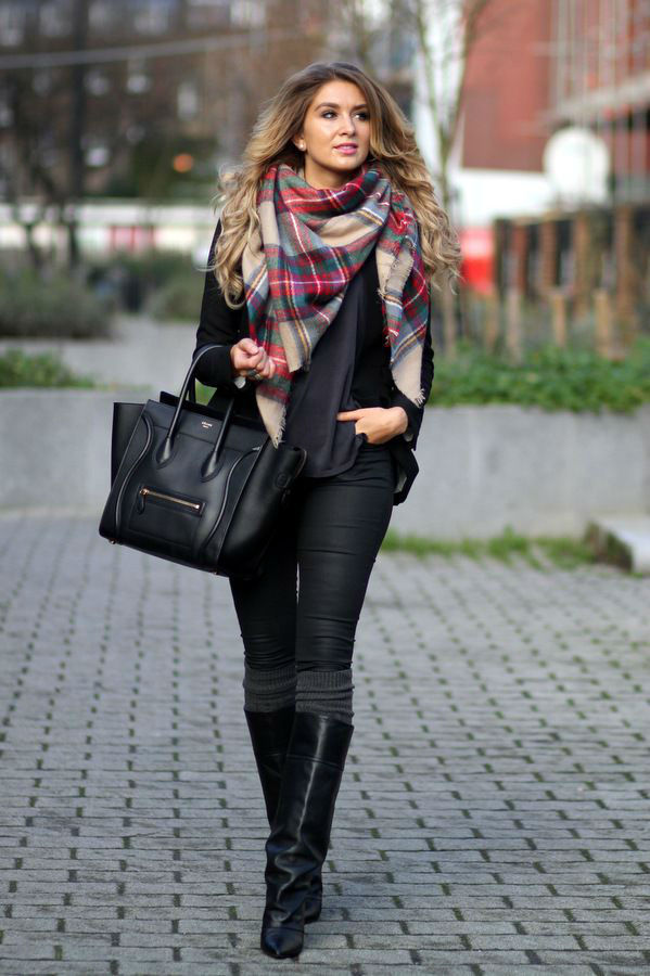 All Black Outfit With Celine Bag Black Boots And Multi