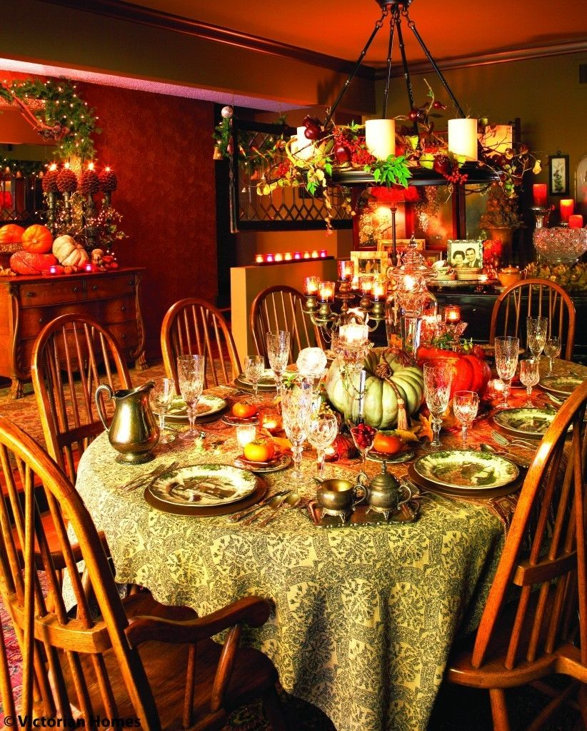 Richly colorful thanksgiving dining room pictures photos - Thanksgiving dinner table decorations ...