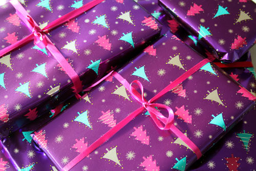 Purple Christmas Tree Patterned Gift Wrap Pictures Photos