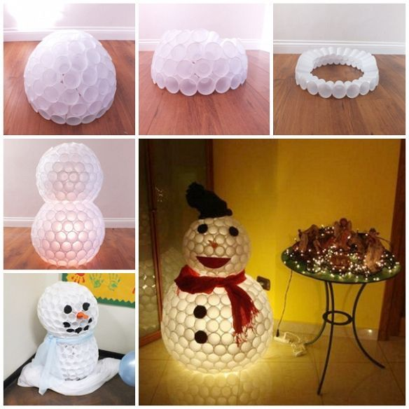 How To Make A Snowman Part - 40: Make A Snowman From Plastic Cups
