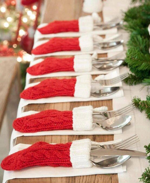 hand knitted christmas stocking silverware holders - Christmas Silverware Holders