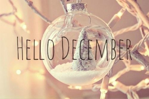 Hello December Quote With Christmas Ornament