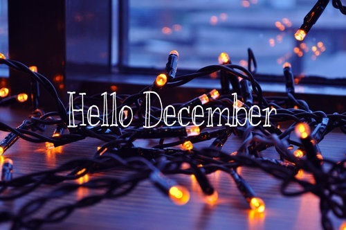 Hello December Quote With Christmas Lights