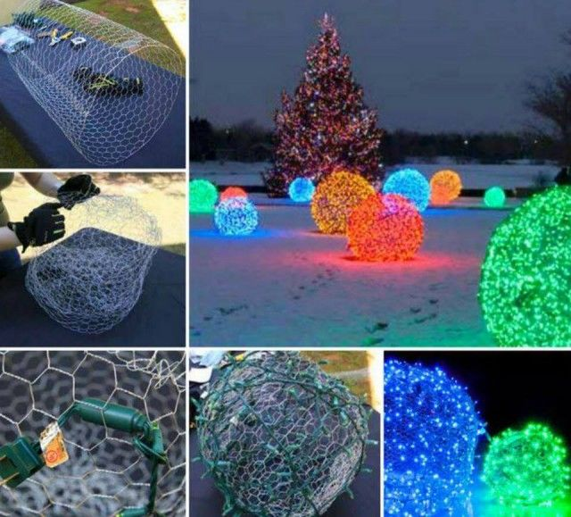 Awesome DIY Christmas Light Balls Made from Chicken Wire