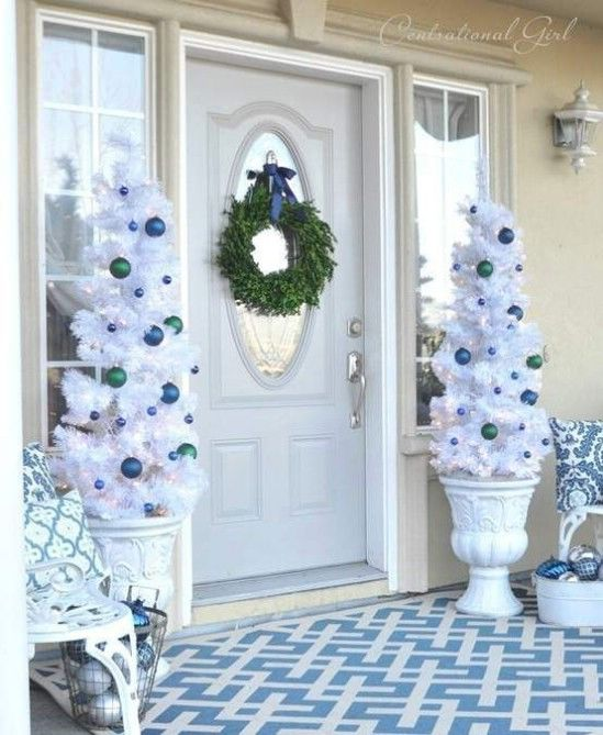 dual white christmas tree porch decor - Porch Christmas Tree