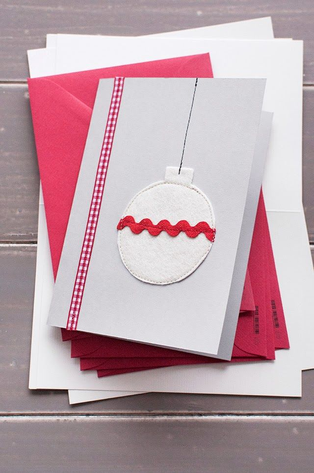 Christmas Cards With Felt Ribbon