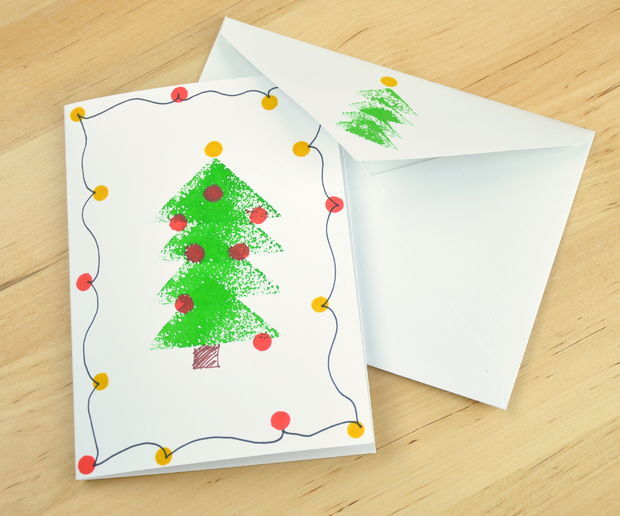 Sponge stamped christmas tree card pictures photos and images for sponge stamped christmas tree card m4hsunfo