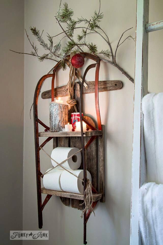How To Decorate A Small Bathroom For Christmas: Sled As A Shelf Pictures, Photos, And Images For Facebook
