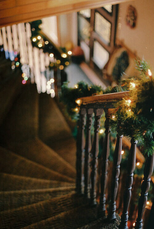 Christmas decorations down the stairs pictures photos