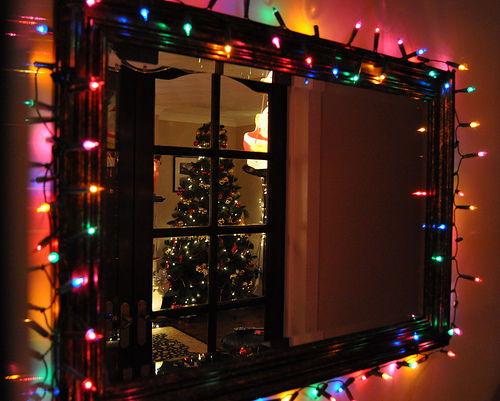 Christmas Led Lights Wrapped Around The Mirror Pictures Photos And