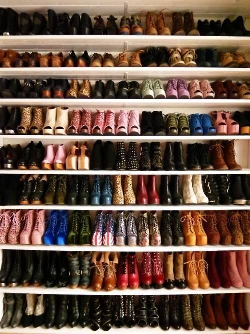 Closet Of Boots Heels And Shoes Pictures Photos