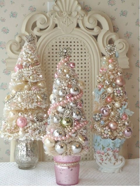 Shabby chic mini christmas trees trees pictures photos and images for facebook tumblr - Navidad shabby chic ...