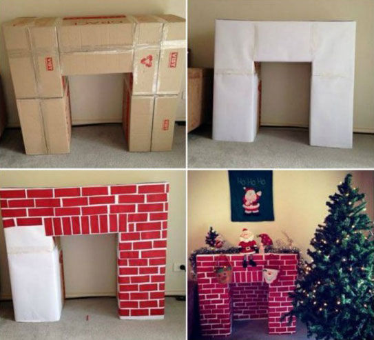 how to build a fake christmas fireplace