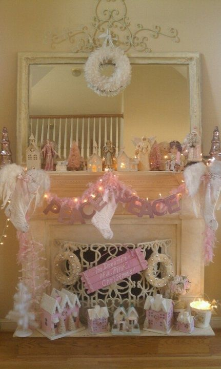 Pink shabby chic christmas fireplace pictures photos and - Shabby chic christmas decorations to make ...