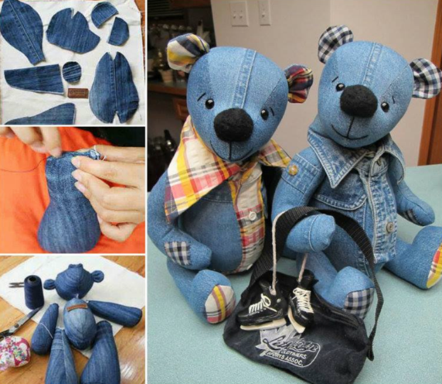 DIY Denim Teddy Bears Pictures, Photos, and Images for Facebook, Tumblr, Pinterest, and Twitter