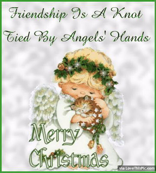 Friendship Is A Knot Tied By An Angels Hands Merry Christmas