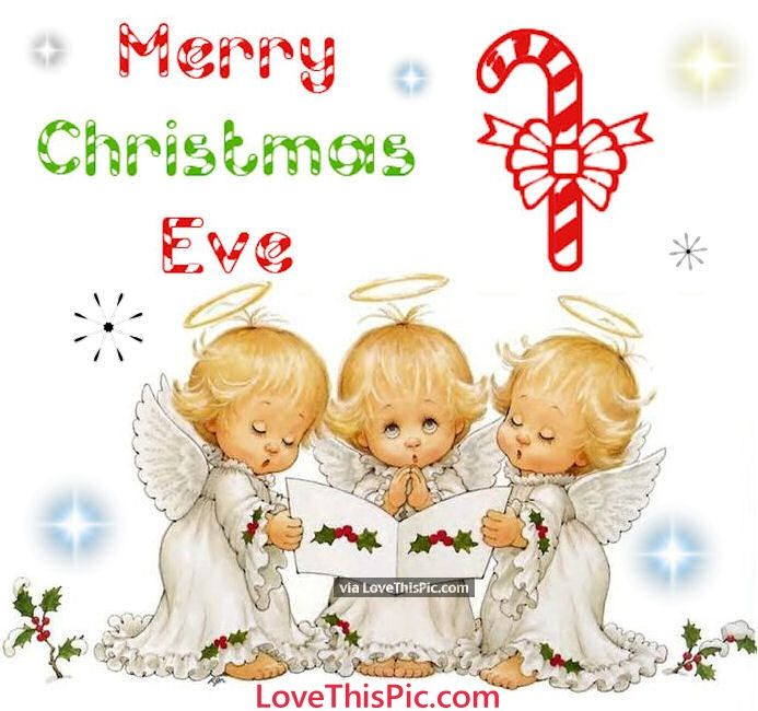 Cute Merry Christmas Eve Quote With Baby Angels