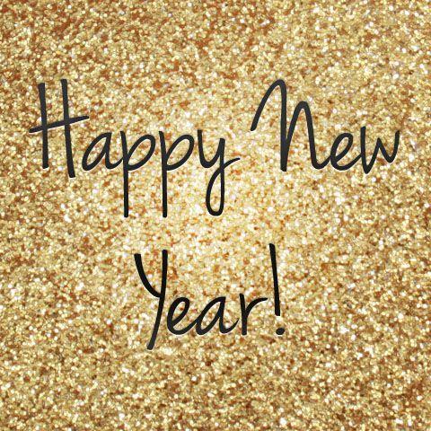 happy new year in gold glitter