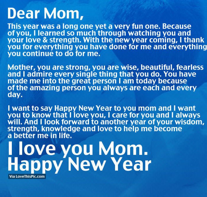i love you mom happy new year